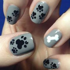 Nail Design | Nail Art | Ideas & Inspiration | Easy DIY how tos| Dog print & Bone for all dog lovers! Cute Animal nail design