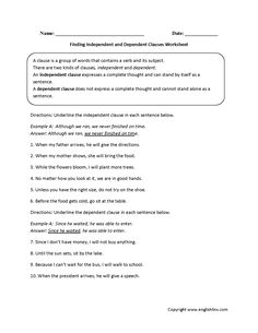 Finding independent and dependent clauses worksheet complex sentences, types of sentences, english sentences, English Grammar Worksheets, English Sentences, Grammar Lessons, Types Of Sentences, Complex Sentences, Dependent And Independent Clauses, Subject And Predicate Worksheets, Sentence Structure, Education Quotes For Teachers