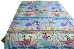 Vintage #disney  bedding Flat Sheet Mickey Minnie Dinosaurs #ebay