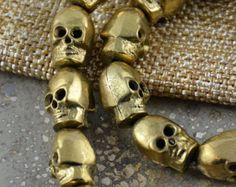 Brass Skull Bead, Skull Beads, Brass Beads, Small Skull Beads, Skull Jewelry, Skull Earrings, Goth Supplies, 14x9mm, 2mm Hole, Pairs, TU