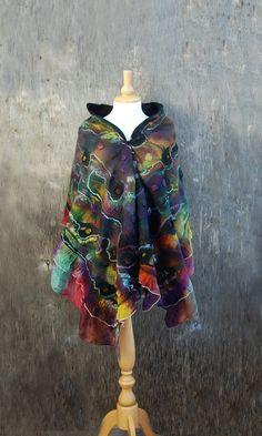 Nuno Felted scarf felt scarf felted shawl wool wrap merino wool silk black purple green red yellow multicolor scarf felted art hand dyed