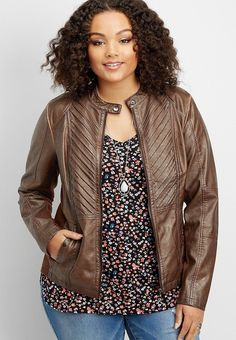 46fd9dbf917 plus size pleat fron Leather Jacket Outfits