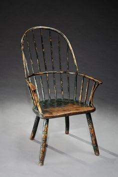 Robert Young Antiques - Collection. Rare Primitive Bow Back Windsor Armchair #FolkArt