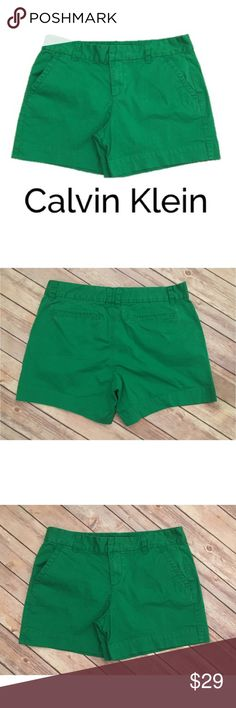 Calvin Klein Sz 6 Green Shorts Solid Basic Calvin Klein Sz 6 Green Shorts Solid Basic Flat Front Casual   ▫️No stains ▫️No holes ▫️There is fading all over. It is mainly on edges.   ▫️Measurements in photos    For the best deal, I offer a bundle discount! Please check out my closet for other fabulous items! Calvin Klein Jeans Shorts