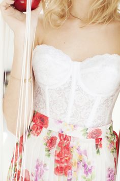 Erotica Lace Bustier, Rose Bloom Skirt