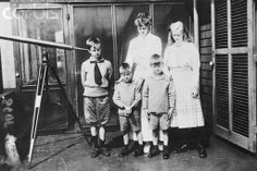 Mrs~~~Eleanor Roosevelt Posing with Children  Mrs.Franklin D. Roosevelt with four of her children on veranda of their summer cottage on 11 mile long Canadian Island of Campobello, New Brunswick,From left to right, Elliot, John, Franklin D. Jr., and only daughter, Anna. Mrs. Roosevelt arrived with her five children early in July but her older son James was on a fishing trip when this photo was taken July 8th,1920. ♡❀♡✿♡❁♡✾♡✽♡❃♡❀♡  http://www.fdrlibrary.marist.edu/