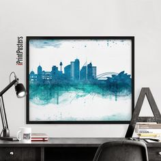 Sydney print Poster Wall Art watercolour art by iPrintPosters