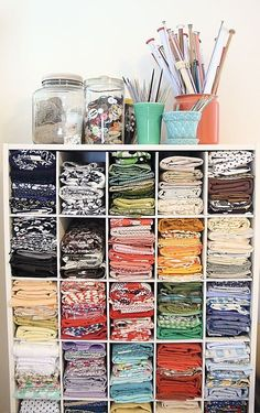 Many of my crafting clients sort by color and/or fabric type. Cubbies like this can be very helpful.