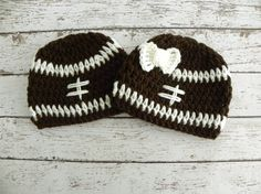 Twin boy/girl football hats in brown and white. Twin crochet football hats. Newborn baby twin photo prop hats. on Etsy, $36.00