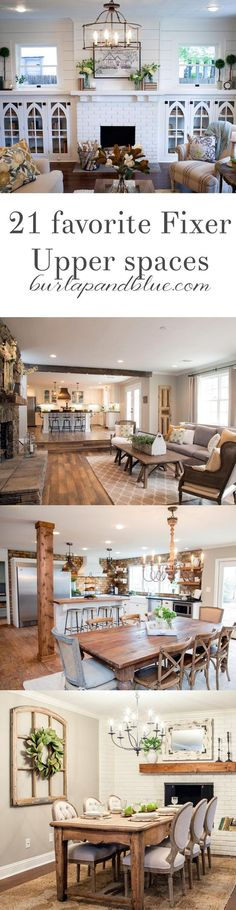 my very favorite Fixer Upper spaces...all in one blog post! Living room, dining room, bedroom inspiration...it's all here! HGTV's Fixer Upper has, for good reason, taken the design-world by storm. Find your inspiration.
