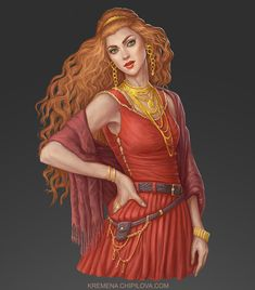 f Sorcerer Red Witch Robes Necklaces Bracelets Circlet female urban City Garden undercity by krewi med Fantasy Character Design, Character Design Inspiration, Character Art, Character Ideas, Character Sketches, Fantasy Portraits, Character Portraits, Fantasy Artwork, Fantasy Characters