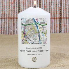 This Personalised Present Day Map Message Pillar Candle is a special gift for New Homes, Weddings, Anniversaries and Birthdays.Personalise this Present Day Edition Map Candle with any UK postcode* followed by up to 3 lines of text, with up to 25 characters per line.Please note all personalisation is in fixed uppercase.