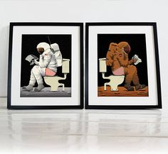 Set of Two Spaceman Spaceship Mars Moon Rocket Bathroom