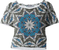 """""""MOROCCAN VIBE"""" CROP TEE  BY DOVETAIL DESIGNS, from Print All Over Me.  Pattern reminiscent of tiles from Morocco, which are actually from a photo of a pool house rooftop in Washington, D.C."""