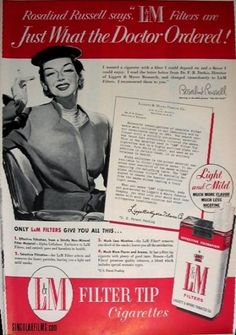 Rosaline Russell for L Cigarettes Advertising History, Old Advertisements, Rosalind Russell, Commercial Ads, Old Hollywood, Hollywood Stars, Classic Films, One In A Million, Vintage Ads
