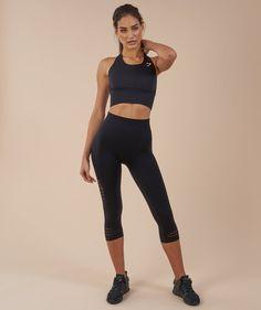 Gymshark Seamless Energy High Waisted Cropped Leggings - Black