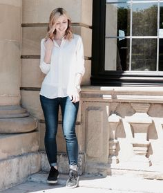Outfit - Instagram - Weiße Bluse - blaue Jeans - Mango - Stan Smith - Adidas - Rosefield Uhr