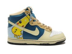 Pikachu Pokemon Nike Dunks High Tops Adult Shoes