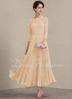 bff27d838c2 A-Line Princess Scoop Neck Ankle-Length Chiffon Lace Mother of the Bride  Dress With Pleated (008143377)