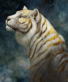 Wild Fantasy: Animal Paintings by Jade Merien Mythical Creatures Art, Mystical Animals, Big Cats Art, Cat Art, Creature Drawings, Animal Drawings, Anime Animals, Cute Animals, Tiger Illustration