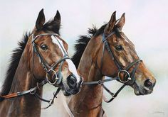Kauto Star and Master Minded Print, Limited Edition Horse Racing Art by Denise Finney