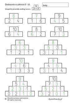 Dodawanie i odejmowanie w zakresie 10 - piramida - karty pracy dla dzieci do druku