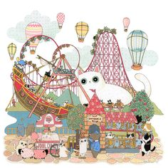 """Series of the Amusement Park - Day of Roller-coaster -Acrylic ink and pen on paper (18"""" x 18"""")"""