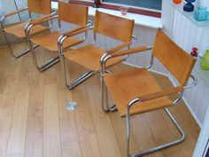 ITALIAN MART STAM DINING CHAIRS x4, Vintage TAN LEATHER, Retro CHROME CANTILEVER