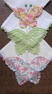 Dainties from a by-gone era, ladies' hankies were often embellished with crocheted lace edgings and/or motifs. Something my mother has made.