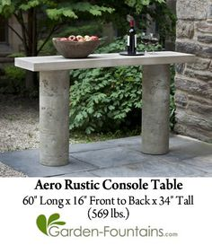 Aero Rustic Console Table fiber reinforced cast stone concrete - Gardening For Life Concrete Furniture, Concrete Table, Concrete Wood, Concrete Garden, Concrete Crafts, Concrete Projects, Outdoor Furniture, Outdoor Console Table, Rustic Console Tables