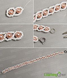Finish the fresh pearl bracelet You are in the right place about matching Beaded Bracelets Here we o Seed Bead Bracelets Tutorials, Beaded Bracelets Tutorial, Beading Tutorials, Beaded Necklace Patterns, Bead Patterns, Weaving Patterns, Motifs Perler, Bijoux Diy, Bead Jewellery