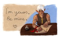 Fenris practicing his writing. Dragon Age II.