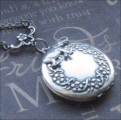 Elephant Locket Necklace Silver Locket by TheEnchantedLocket