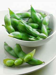 Edamame, great source of dietary fiber and protein.