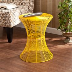 Kayden Indoor/ Outdoor Yellow Metal Accent Table | Overstock.com $70.19 - Comes in other colors like red, silver, green, black, etc....