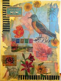 Acrylic transfers, collage, decoupage and paint