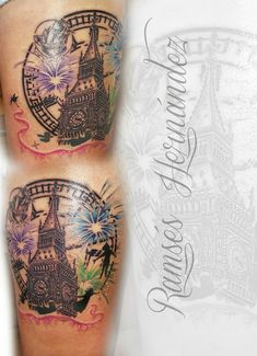 Ramses Hernández IG: Ramses_hdez Big ben, london, tattoo, tatuaje, peter pan, ramses hernandez, clock, reloj, fireworks,