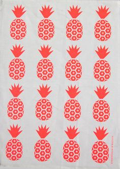 Everingham & Watson Tea Towel Fluro Pineapple on White | State Library of Queensland Shop