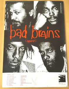 BAD BRAINS -VINTAGE TOUR POSTER 1987 HARDCORE PUNK MINOR THREAT CRO MAGS NYHC