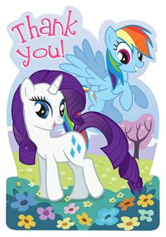 Show your appreciation to party guests with these sweet and magical My Little Pony Friendship Thank You Postcards.  The colorful die cut postcard style thank you features Rarity and Rainbow Dash on the card front, dancing in a colorful meadow next to the words �Thank You�.  Turn the card over to find a pink patterned background with lines to write your heartfelt thanks.  Each card comes with a pink envelope that measures 4.5 inches x 6.5 inches.  Included are envelope seals to affix to the…