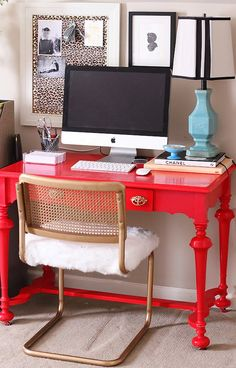 Office Space with DIY up-cycled red lacquer desk and re-upholstered thrift chair www.charmingincharlotte.blogspot.com