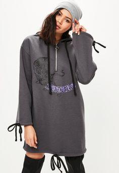Missguided - Szara owersajzowa sukienka bluza z kapturem z nadrukiem i ozdobnymi wiązaniami