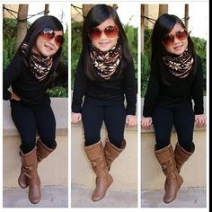 Kids fashion... @Nicole Novembrino Novembrino Novembrino Novembrino Novembrino Novembrino Boenigk (diary of a mad crafter) I think her scarf is the same print as your leggings!