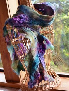 Amethyst and Plum Roses on Forest Greens. I'm taking a workshop from the lady that made this beautiful scarf I can only hope mine turns out half as nice as this one. Nuno Felting, Needle Felting, Ribbon Work, Felt Art, Silk Painting, Three Dimensional, Art Forms, Textile Art, Color Inspiration