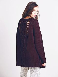 Free People Maroon Red Ladder Back Oversized Cardigan New Large #FreePeople #Cardigan