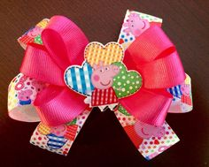 A personal favorite from my Etsy shop https://www.etsy.com/listing/224051509/5-peppa-pig-inspired-hair-bow-peppa-pig