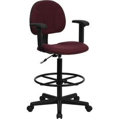 iHome Silkeborg Burgundy (Red) Fabric Professional Drafting Chair w/Adjustable Arms