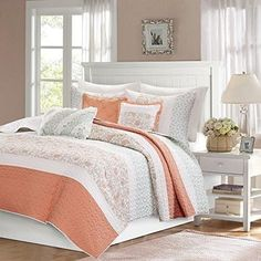 Coral Pink Paisley Coverlet KingCal King Set Coastal Shabby Chic Flower Textured Bedding Horizontal Stripe Floral Pattern Lightweight Airy Quilted Bedspread Decorative Pillows Cotton