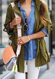 olive military jacket, chambray shirt, ombre hair, and a cute cross body bag