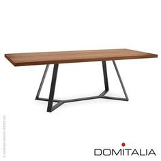 Spacious base: Table by Domitalia Design Archie L 240 Rectangular Dining Table in lacquered steel frame with Walnut veneered top. Made in Italy Designer Alberto Werner Arter Frame Anthracite Top Walnut V Dinning Room Tables, Metal Dining Table, Dining Table Design, Steel Table, Wood Table, Dining Chairs, Table Frame, Steel Furniture, Modern Table